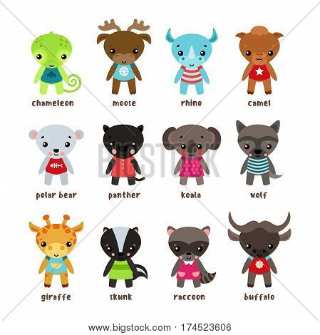 Cartoon moose or deer, baby chameleon or smiling rhino, camel and polar bear, panther and jungle koala, wolf and safari giraffe, skunk and racoon or coon, american buffalo. Humor and animal theme