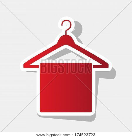 Towel On Hanger sign. Vector. New year reddish icon with outside stroke and gray shadow on light gray background.