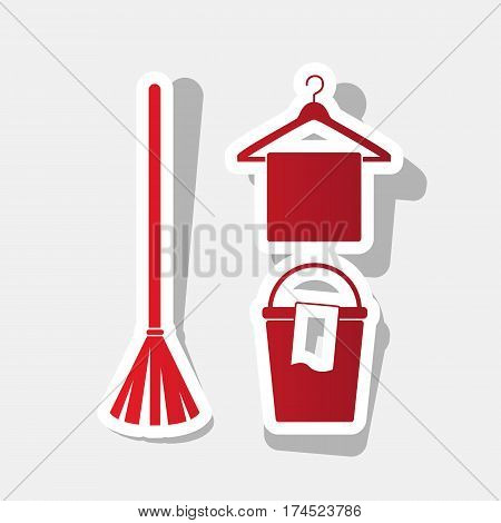 Broom, bucket and hanger sign. Vector. New year reddish icon with outside stroke and gray shadow on light gray background.