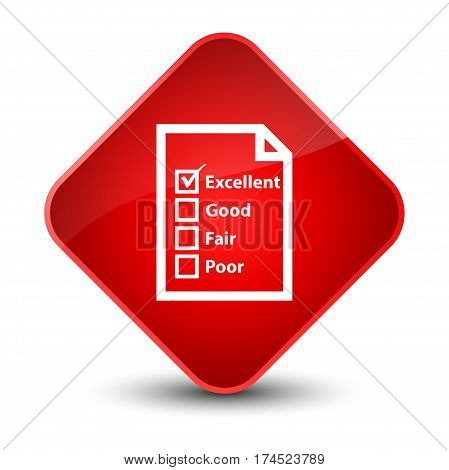 Questionnaire Icon Elegant Red Diamond Button