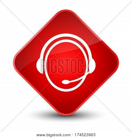 Customer Care Service Icon Elegant Red Diamond Button