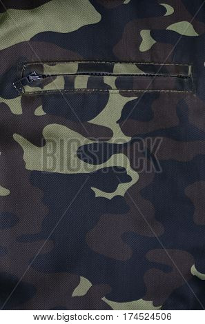 Textile Pattern Of Military Camouflage With Pocket