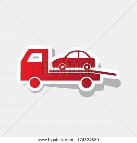 Tow car evacuation sign. Vector. New year reddish icon with outside stroke and gray shadow on light gray background.