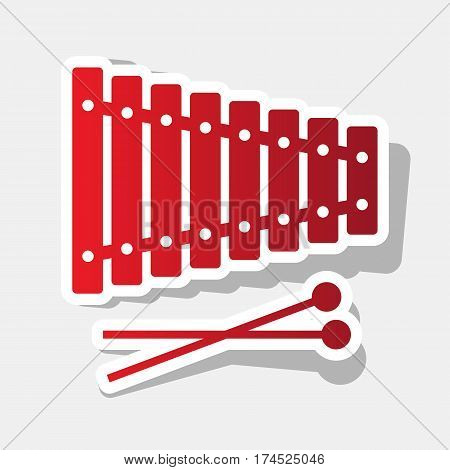 Xylophone sign. Vector. New year reddish icon with outside stroke and gray shadow on light gray background.
