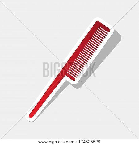 Comb sign. Vector. New year reddish icon with outside stroke and gray shadow on light gray background.