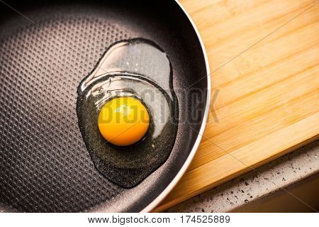 raw egg on a frying pan .