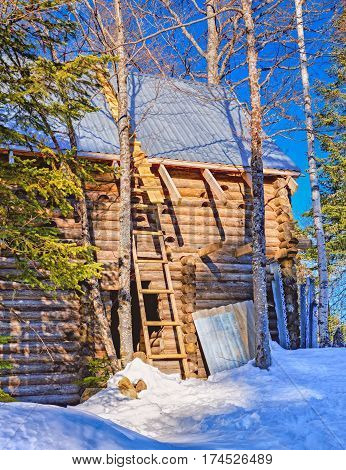 Wooden house in winter forest North Caucasus winter mountain forest