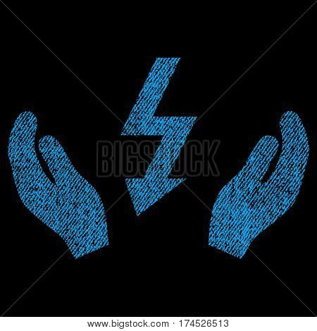 Electrical Power Maintenance Hands vector textured icon for overlay watermark stamps. Fabric blue vectorized texture. Symbol with dust design. Rubber seal stamp with fiber textile structure.