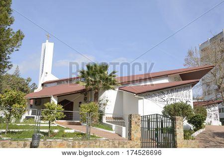 MARBELLA, SPAIN - FEBRUARY 27, 2017: Lateral side of Santo Cristo del Calvario Church in Marbella Andalusia Spain.