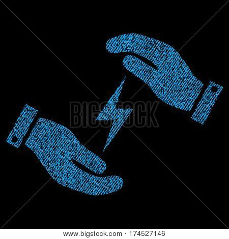 Electricity Supply Care Hands vector textured icon for overlay watermark stamps. Fabric blue vectorized texture. Symbol with dirty design. Rubber seal stamp with fiber textile structure.