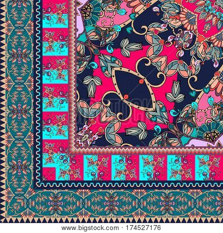 Quarter of the ethnic bandana print with mandala and ornamental border. Silk neck scarf with beautiful flowers and leaves. Rug. Vector illustration.