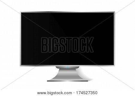 Realistic Modern Tv Monitor Isolated. Vector Illustration