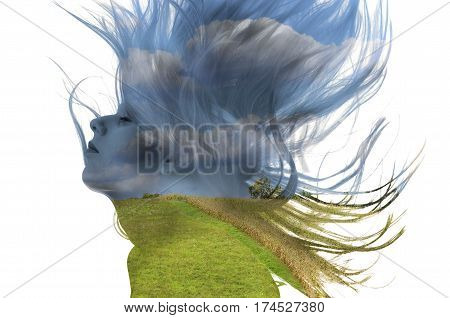 double exposure of a woman with flowing hair and colorful nature landscape