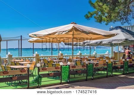 Small Cafe At Seafront Of Gelendzhik Resort In Sunny Day On Black Sea Coast, Gelendzhik, Russia