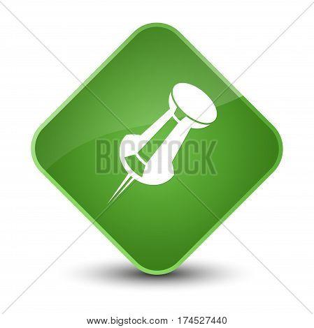 Push Pin Icon Elegant Soft Green Diamond Button