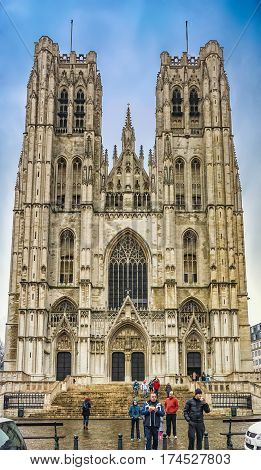 BRUSSELS, BELGIUM - JANUARY 05, 2013 : The St. Michael and St. Gudula Cathedral - Roman Catholic church at the Treurenberg Hill in Brussels, Belgium