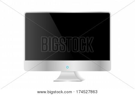 Realistic Silver Modern Tv Monitor Isolated. Vector Illustration