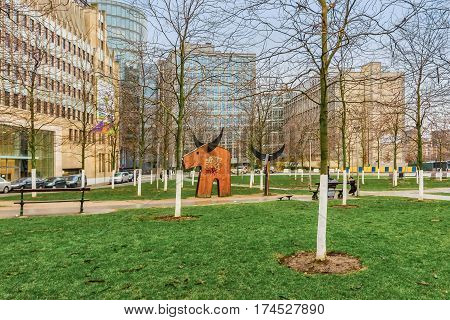 BRUSSELS, BELGIUM - JANUARY 05, 2013 : Street art at Parvis Sainte-Gudule. St Michael and St Gudula Cathedral, Brussels