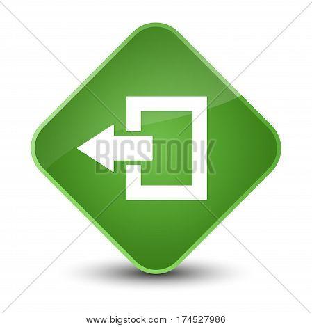 Logout Icon Elegant Soft Green Diamond Button