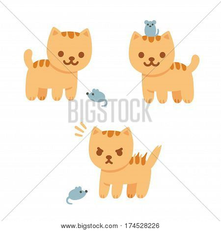 Cat and mouse vector illustration. Cute cartoon kitten playing with mouse friendly and angry.