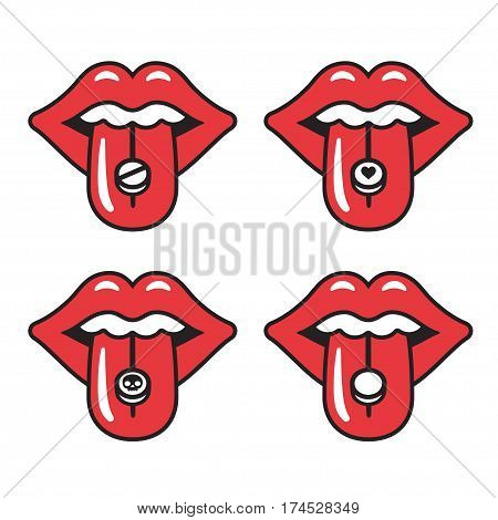 Cartoon red lips with different pills on tongue. Young woman taking drugs. Extasy MDMA recreational drug vector illustration.