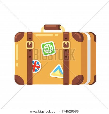 Vintage travel suitcase with stickers isolated vector illustration. Old leather luggage bag in flat cartoon style.