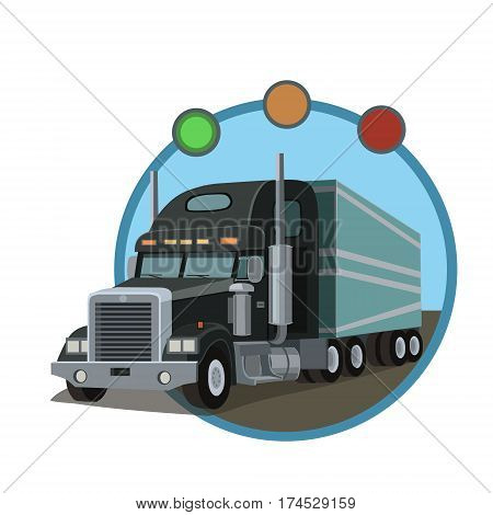 Black cargo car with the trailer for transportation of goods wholesale and retail on the item the destination!