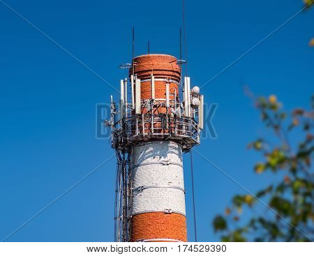 Industrial Chimney With Cellular Equipment