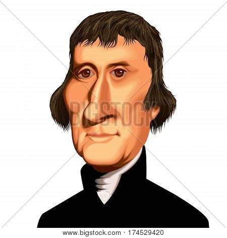 Vector Caricature Ilustration American US President Thomas Jefferson Political Portait
