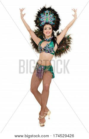 one caucasian woman samba dancer dancing isolated on white background in full length