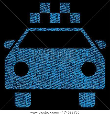 Taxi Automobile vector textured icon for overlay watermark stamps. Fabric blue vectorized texture. Symbol with dirty design. Rubber seal stamp with fiber textile structure.