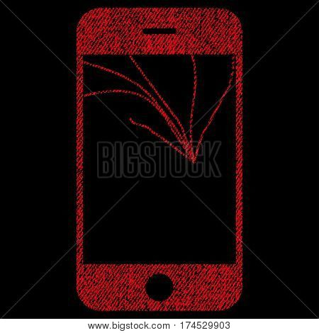 Broken Smartphone Screen vector textured icon for overlay watermark stamps. Fabric red vectorized texture. Symbol with dust design. Rubber seal stamp with fiber textile structure.