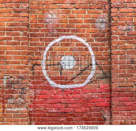 Old Brick Wall With Painted Target