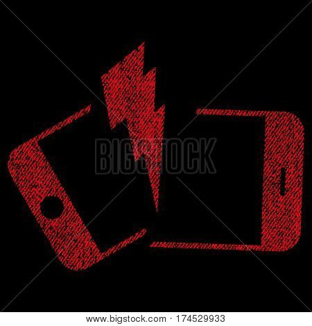 Broken Smartphone vector textured icon for overlay watermark stamps. Fabric red vectorized texture. Symbol with dirty design. Rubber seal stamp with fiber textile structure.