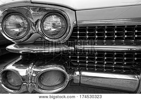 The grill of a 1950's classic American car.