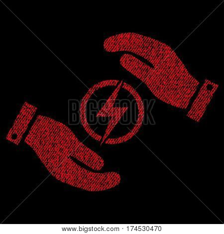 Electric Energy Insurance Hands vector textured icon for overlay watermark stamps. Fabric red vectorized texture. Symbol with unclean design. Rubber seal stamp with fiber textile structure.