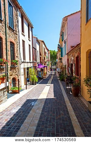Back street in the resort town of Collioure, Southern France