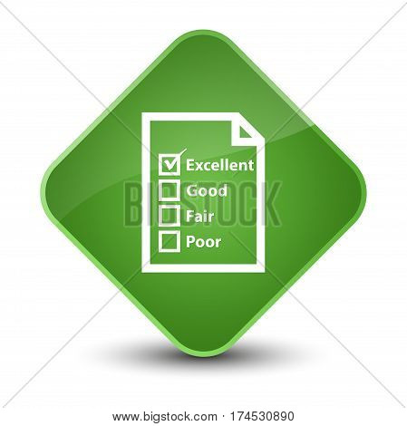 Questionnaire Icon Elegant Soft Green Diamond Button