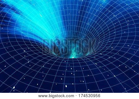 Abstract speed tunnel blue warp in space, wormhole or black hole, scene of overcoming the temporary space in cosmos, 3d rendering