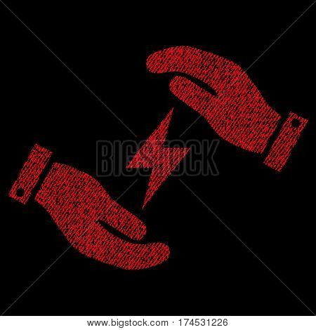 Electricity Care Hands vector textured icon for overlay watermark stamps. Fabric red vectorized texture. Symbol with dust design. Rubber seal stamp with fiber textile structure.
