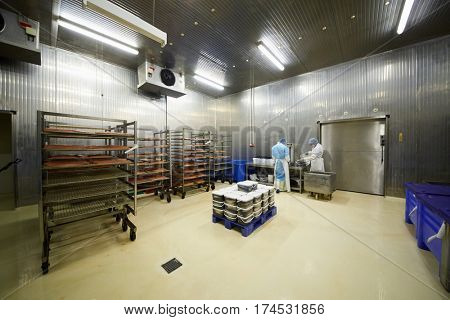 MOSCOW, RUSSIA - MAY 18, 2016: Workers pack fish in work shop of Russian Fish Factory. Russian Fish Factory is the company on the harvesting and processing of fish and seafood.