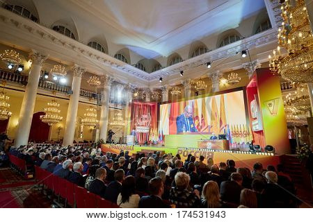 MOSCOW, RUSSIA - APR 23, 2016: Members and guests an 8th congress of A Just Russia political party in Union House column hall.