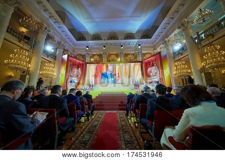 MOSCOW, RUSSIA - APR 23, 2016: Members and guests during 8th congress of A Just Russia political party in Union House column hall.