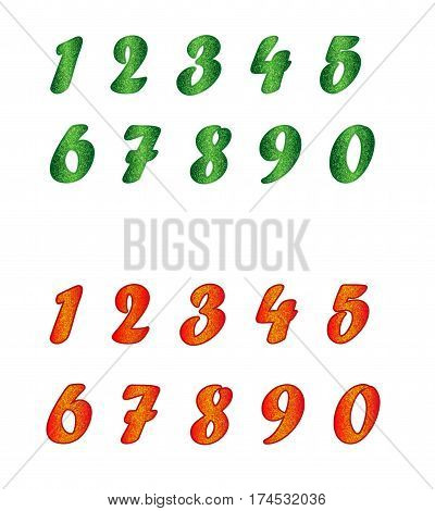 Standard set of numbers in two variants. Bright collection of different colors with spangles. Can be used as a design element, independent project, in web draft, etc. Isolated on white background.