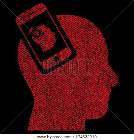 Smartphone Head Plugin Recursion vector textured icon for overlay watermark stamps. Fabric red vectorized texture. Symbol with unclean design. Rubber seal stamp with fiber textile structure.