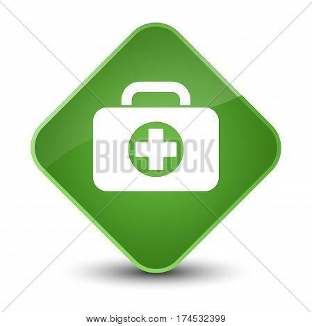 First Aid Kit Bag Icon Elegant Soft Green Diamond Button
