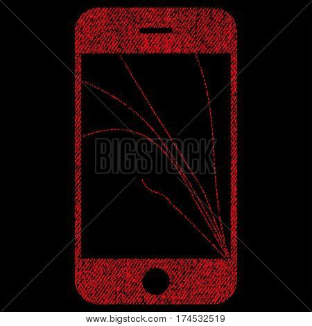 Smartphone Screen Cracks vector textured icon for overlay watermark stamps. Fabric red vectorized texture. Symbol with scratched design. Rubber seal stamp with fiber textile structure.