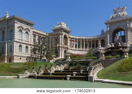 MARSEILLE, FRANCE - AUG 1, 2016: Longchamp Palace, museum of Fine Arts, built in middle of 19th century.