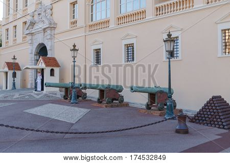 MONTE CARLO, MONACO - AUG 4, 2016: Entrance to Prince Palace of Monaco with guns and cannonballs