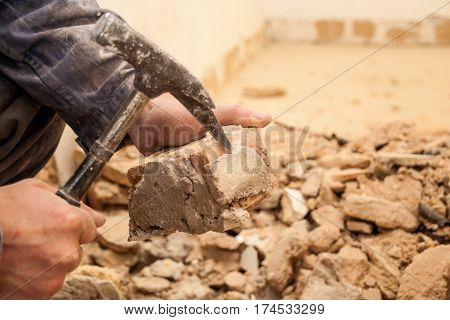 Renovating The Apartment, The Master Of Breaking Into The Mortar With The Bricks, Masonry Hammer